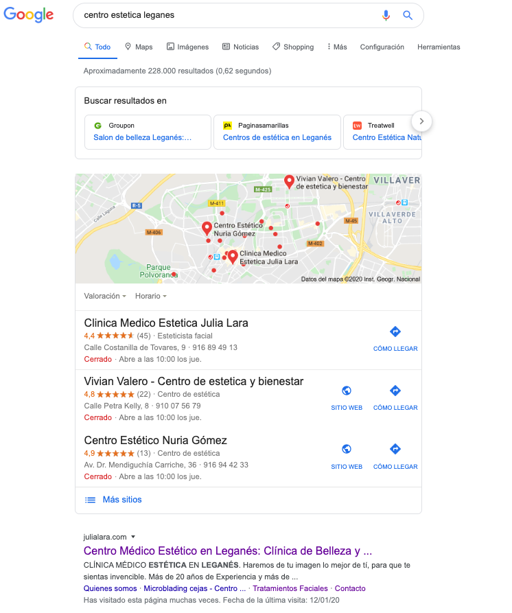Posicionamiento local como una de 7 Estrategias efectivas de Marketing para Centros Estéticos
